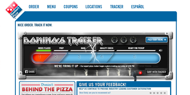Screenshot of Dominos Pizza Tracker
